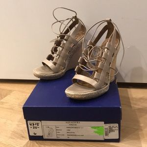 AQUAZZURA WOMENS BEIGE AND GOLD LACE UP WEDGE